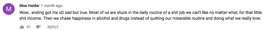 YouTube Rat Race Comment 5