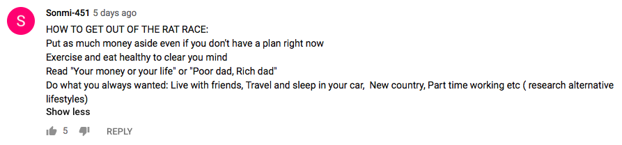 YouTube Rat Race Comment 3