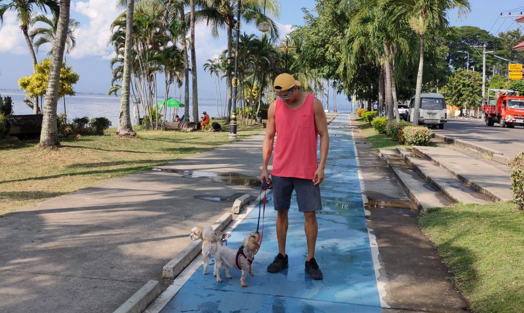 Phayao Lake with my dogs