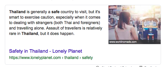 Thailand is very safe