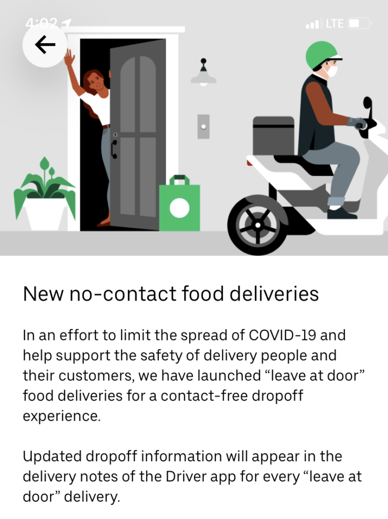 Uber Eats No-Contact Delivery
