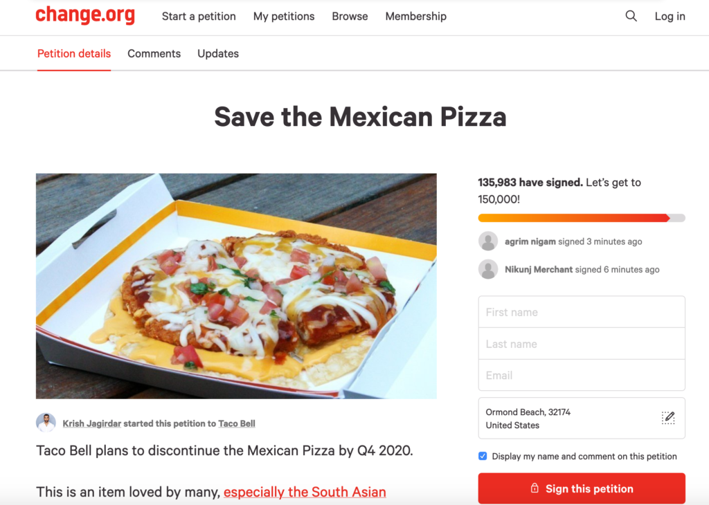 Change.org Mexican Pizza Petition