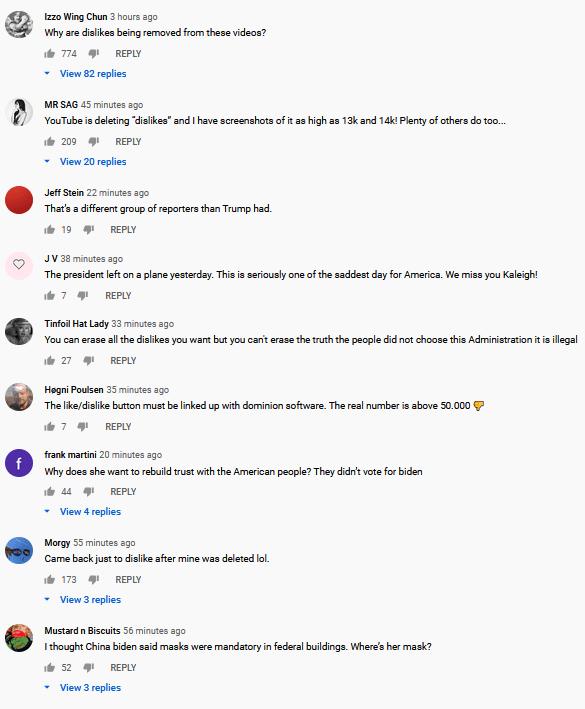 Biden YouTube comments