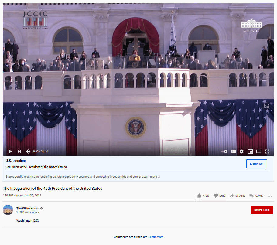 Biden YouTube Inauguration