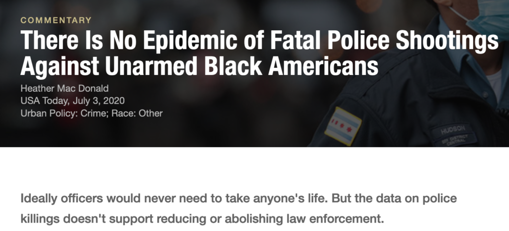 There Is No Epidemic of Fatal Police Shootings Against Unarmed Black Americans